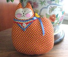 Cat Pillow Doll Cloth Doll 7 inch RED and YELLOW by CharlotteStyle, $12.00