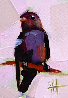 Purple Martin no. 9 original bird oil painting by moulton aceo