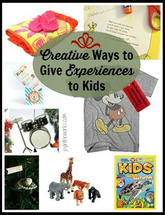 "Looking to give your kids an experience instead of more ""stuff"" but need help knowing what to do and how to wrap it so they have something special to unwrap on the big day? Check out this list of over 20 creative ways to give experiences to kids.#giftsforkids #giveexperiences #diygifts #giftideas"