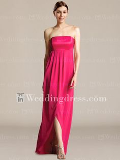 Strapless Empire Bridal Party Gown with High-Low Skirt BR223