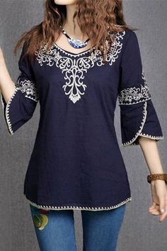 Vintage Scoop Collar 3/4 Sleeve Embroidered Blouse For Women
