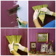 Use a broom on wet paint to create a textured paint look. Now I really want to repaint my kitchen...