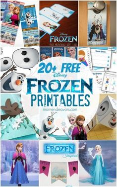 20+ FREE Disney Frozen Printables (Party decor, activity sheets, coloring pages, and more) via momendeavors.com #Disney #Frozen