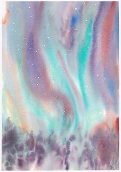 Juste un grain de poussière (Painting) par Mijo Chambon aquarelle technique humide sur humide.;;fusion des couleurs et de l'eau impression de la force de l'espace
