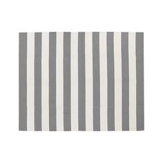 Olin Grey Striped Cotton Dhurrie 8'x10' Rug | Crate and Barrel