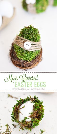 These beautiful Moss Covered Easter Eggs are the perfect spring decor! Learn how to make them at LoveGrowsWild.com