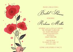 Classy Red Floral Bridal Shower Invitation  Digital by lilanab2