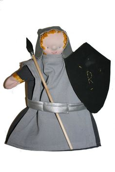 Handpop ridder poppenkast pop ridder popje van MijnPopje op Etsy, €14,95