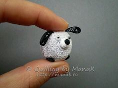 Tiny quilled puppy inspired by pom pom craft