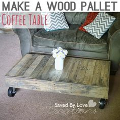 Make your own industrial style coffee table with casters from shipping pallets! DIY Shipping Pallet to Coffee Table Wooden Pallet Coffee Table, Coffee Table Plans, Wood Pallet Furniture, Diy Coffee Table, Wood Pallets, Diy Furniture, Painted Furniture, Coffee Ideas, Pallet Wood
