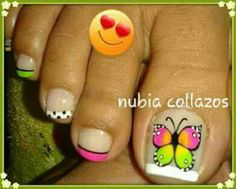 Uñas Animal Nail Designs, Hot Nail Designs, Pedicure Designs, Colorful Nail Designs, Nail Polish Designs, French Pedicure, Pedicure Nail Art, Toe Nail Art, Mani Pedi