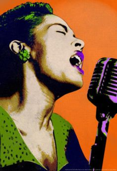 Billie Holiday Orange Pop Art