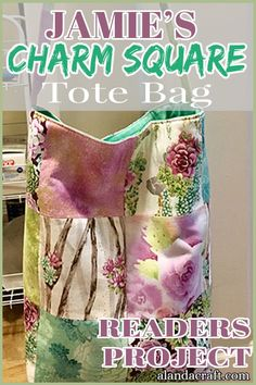 Our readers project is this gorgeous charm square tote bag by Jamie. Charm squares can be used in many quilting projects and they make great tote bags. Easy Sewing Projects, Sewing Projects For Beginners, Quilting Projects, Bag Tutorials, Sewing Tutorials, Zipper Pouch Tutorial, One Bag, Purse Patterns, Cute Bags