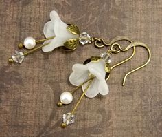 White Bellflower Earrings  Crystal & Pearl Swarovski Beads  Antiqued Brass and Frosted Flower  Beaded Jewelry  Bridal Victorian Fairy Bell