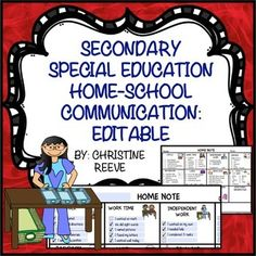Secondary Special Education Home-School Communication: EditableThese notes are also available for other age groups at Home School CommunicationThis set of home-school communication notes is designed to allow teachers to provide individualized information about the students performance in limited time.