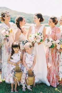 @sallypinera captured this lovely image of a bridal party that proves mismatched attire can still look perfectly cohesive. 👗This fashion trend is a great way to please the whole crew, while still looking super stylish! 💗 | Photography: @sallypinera #stylemepretty #bridesmaids #summerwedding Dream Wedding Dresses, Wedding Gowns, Bridesmaid Dress Styles, Bridesmaids, Fine Art Wedding Photography, Martha Stewart Weddings, Bride Hairstyles, California Wedding, Wedding Attire