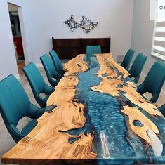 Diy Resin Table, Epoxy Table Top, Epoxy Wood Table, Epoxy Resin Table, Dining Sofa, Walnut Dining Table, Bancada Epoxy, Wood Table Design, Resin Furniture