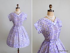 Vintage 1960s Dress  50s 60s Full Skirt Cotton by RaleighVintage, $68.00