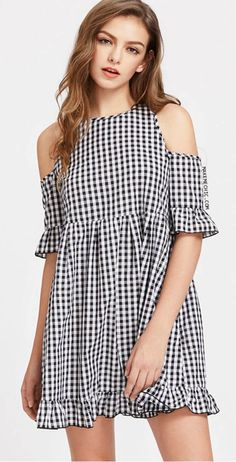 Shop Open Shoulder Cutout Tie Back Frill Detail Gingham Dress online. SheIn offers Open Shoulder Cutout Tie Back Frill Detail Gingham Dress & more to fit your fashionable needs. Sexy Summer Dresses, Simple Dresses, Cute Dresses, Casual Dresses, Casual Outfits, Black Leather Mini Skirt, Dress Outfits, Fashion Outfits, Women's Fashion