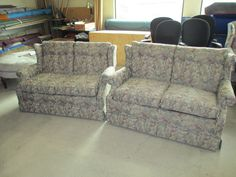 Love Seats that we recovered, one is a hide a bed, customer choose their own fabric. We also put new foam in the seat cushions. http://wardell-upholstery.com/