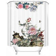 Chinoiserie Fancy  Butterfly Peony Print Shower Curtain
