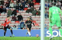 Alex #Kacaniklic of Fulham races down the wing during the FA Cup fourth round clash at the Stadium of Light on Saturday afternoon