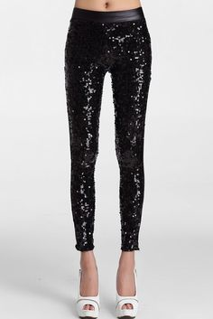 Black Sequin Front PU Leggings