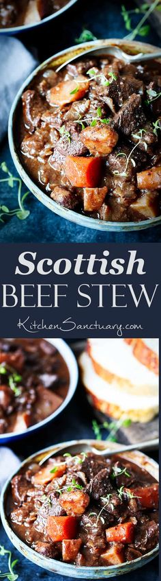 Scottish Beef Stew - cooked in the oven or crockpot. Perfect for Burns night! #BurnsNight #Scottish #SlowCooked #BeefStew #crockpot #recipe via @kitchensanc2ary
