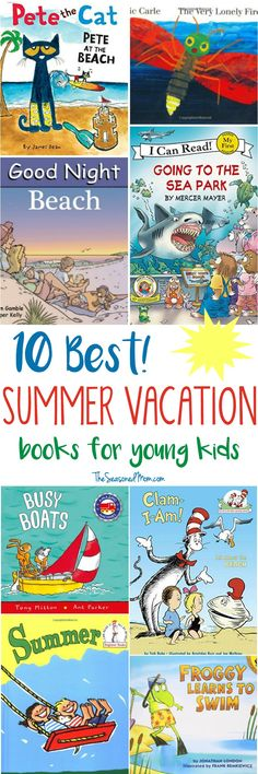 Entertain your preschooler or early reader with these fun Summer Vacation Books for Young Kids! Whether you& planning a trip to the beach or a staycation at home, these books about boats, oceans, and the season are perfect for every occasion! Toddler Books, Childrens Books, Summer School, Summer Fun, Best Summer Vacations, Summer Books, Books About Summer, Learn To Swim, Preschool Books