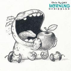 It's apple season! Cute Monsters Drawings, Cartoon Monsters, Little Monsters, Kawaii Drawings, Cartoon Drawings, Easy Drawings, Animal Drawings, Doodle Monster, Monster Drawing