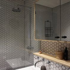 Hexagonal tiles and ply wood finishes give a mid century feel to this shower room Ply Wood, Hexagon Tiles, Bathrooms, Mid Century, Shower, Mirror, Interior, Furniture, Design