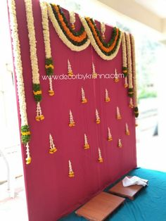 DecorbyKrishna is taking orders for eco-friendly home based events decor, like p. Desi Wedding Decor, Wedding Stage Design, Simple Wedding Decorations, Backdrop Decorations, Diwali Decorations, Flower Decorations, Naming Ceremony Decoration, Marriage Decoration, Mehndi Decor