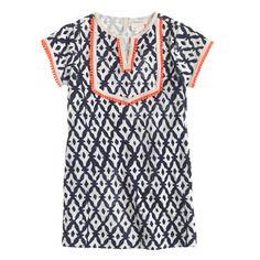 Girls' terry beach dress in diamond print