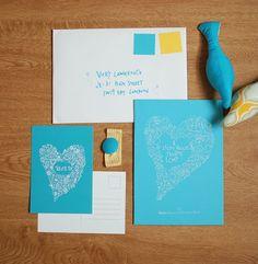 Typography  blue  yellow stationery set