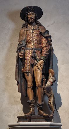 Saint Roch  Date: early 16th century Geography: Made in, Normandy, France Culture: French Medium: Oak, paint, gilt