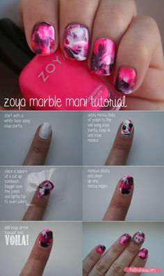 Super easy water marble #mani - see #howto here... http://helloglossy.com/updated-dry-marble-mani-tutorial/ #nailpolish