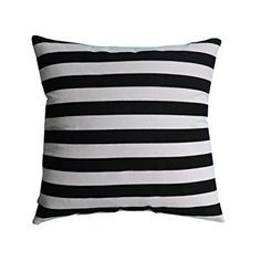 "Cotton Canvas Black/White Stripe Square Throw Pillow Cover Case, Decorative Pillowcase - 24"" x 24"""