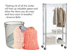 Eliminating clutter will make your closet much easier to organize - 10 Tips To Organize Your Closet Hanging Closet Shelves, Hanging Clothes Racks, Hanging Closet Organizer, Closet Organization, Organizing, Bookcase Storage, Cube Storage, Wardrobe Shoe Rack, Portable Closet