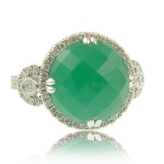 Green Agate and Diamond Ring Available at Houston Jewelry!  www.houstonjewelry.com