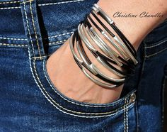 Leather and Sterling Silver Bracelet Leather by ChristineChandler