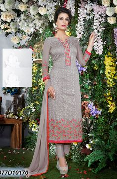 #Semi #Stitched #Gray #Georgette #Straight #Suit #nikvik  #usa #designer #australia #canada #freeshipping #greykamiz #pakistanisuit