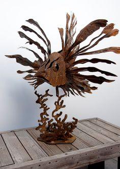 Lion fish metal art sculpture for the garden fish by MANmadeMetal, $1500.00