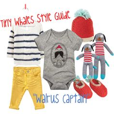 """""""Tiny Whales Style Guide, """"Walrus Captain"""" Onesie."""" by tinywhales on Polyvore"""