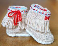 PDF PATTERN Baby Shoes Crochet Pattern Native American Style