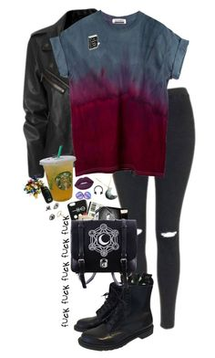 """I wish I was an edgy kid"" by lostinthecosmics ❤ liked on Polyvore featuring Topshop, K. Bell, Dr. Martens, Lime Crime and Topman"