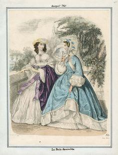 1861. Day or walking dresses, La Belle Assemblee, August.