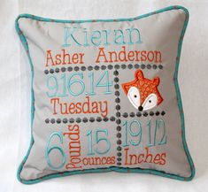 Custom Birth Announcement Pillow Embroidered by shirehillbaby Baby Sewing Projects, Sewing Hacks, Sewing Ideas, Birth Announcement Template, Birth Announcements, Baby Birth Information, Baby Embroidery, Embroidery Files, Memory Pillows