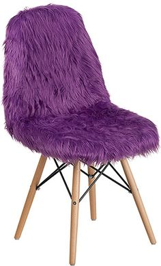 Purple Shaggy Chair - Flash Furniture fashionable contemporary chair has a retro appeal. This colorful chair will brighten your home or office decor. This chair features a ''cool to touch'' faux fur material with an attractive beechwood base. Pink Accent Chair, Purple Chair, Accent Chairs, Purple Furniture, Office Furniture, Accent Furniture, Furniture Decor, Faux Fur Material, Purple Rooms