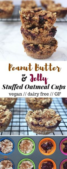 A grab-n-go breakfast, snack, or pre-workout, thesePeanut Butter & Jelly Stuffed Oatmeal Cups are easy to make, vegan, and only a handful of ingredients - Eat the Gains