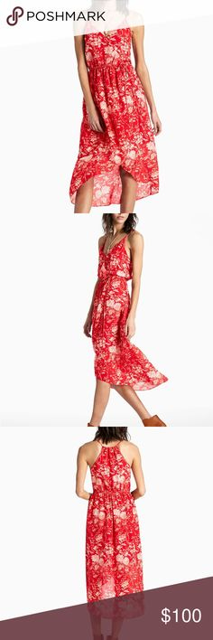 NWT Lucky Brand Silk Floral Wrap Tank Dress A sunny take on the lady in red. This 100% silk floral wrap dress stuns with a surplice neckline (and hidden snap closure to keep you secure!) and an elasticized waist in an ever-flattering silhouette. From weekend brunch to outdoor wedding, this little number has you covered.  Fully lined Length: 35 inches (Size small) 100% Silk Lucky Brand Dresses Midi